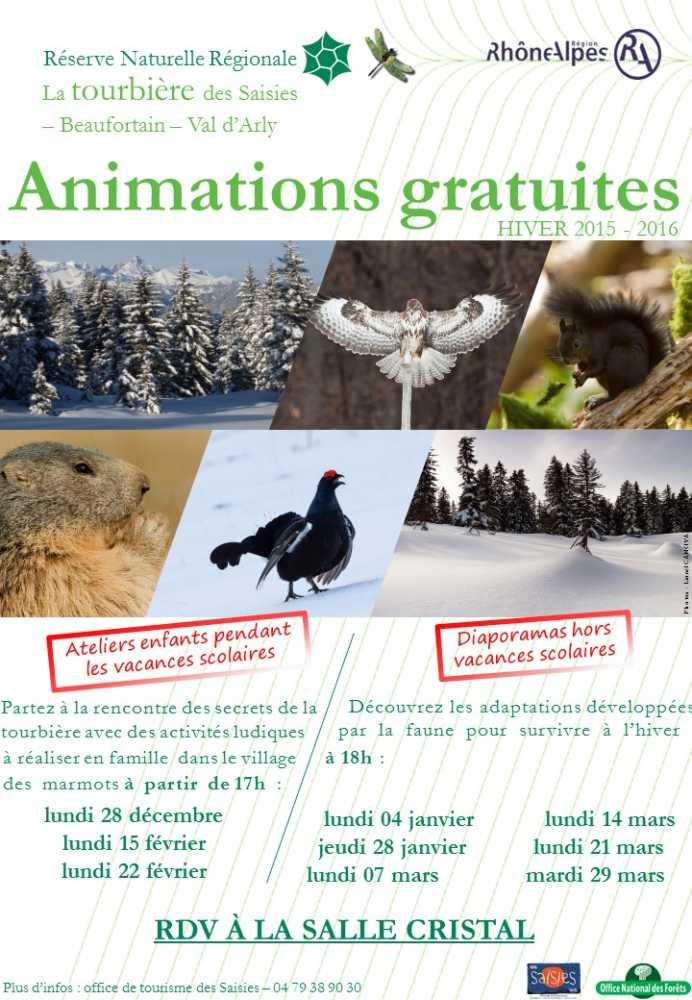 Affiche animations RNR Réserve Naturelle Régionale La tourbière des Saisies