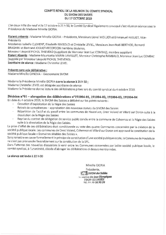 Compte-rendu du Comité Syndical du 17 octobre 2019