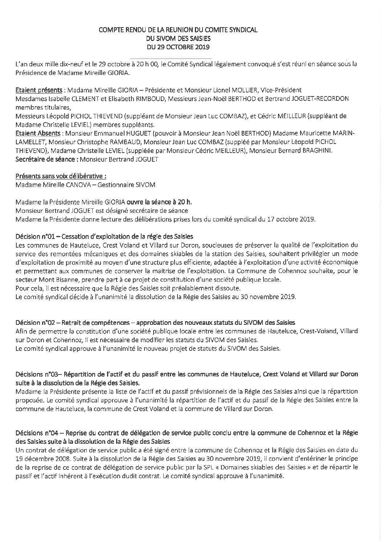 Compte-rendu du Comité Syndical du 29 octobre 2019