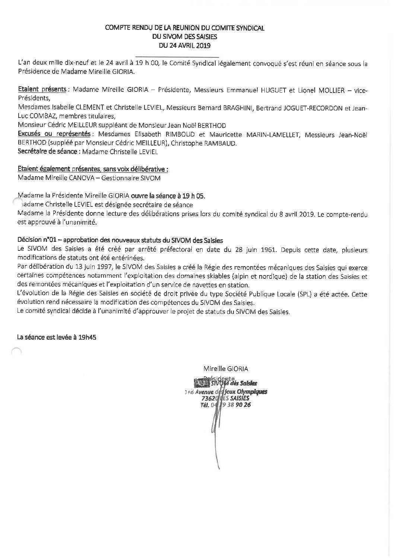 Compte-rendu du Comité Syndical du 24 avril 2019
