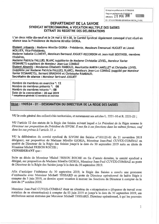 Compte-rendu du Comité Syndical du 24 mai 2019