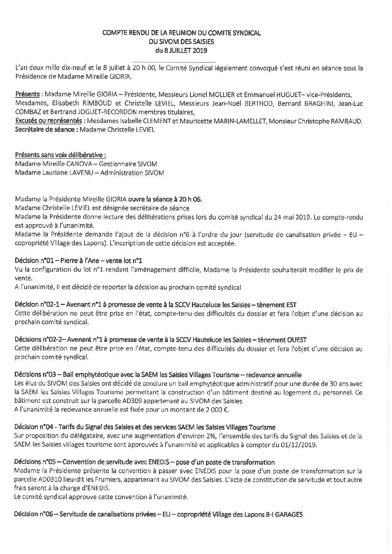 Compte-rendu du Comité Syndical du 8 juillet 2019