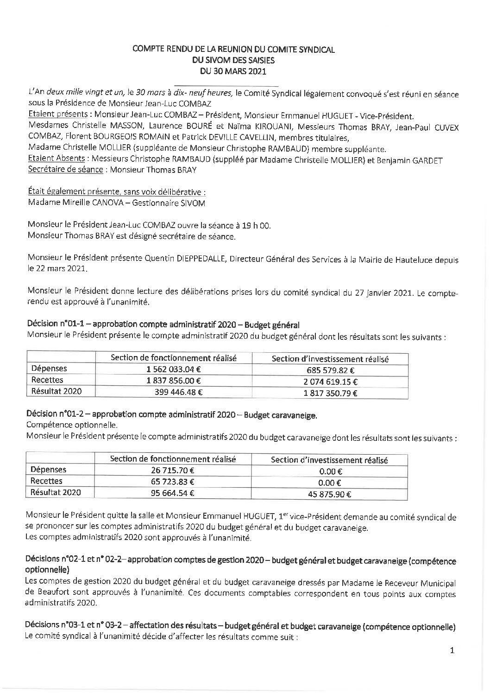Compte-rendu du Comité Syndical du 30 mars 2021
