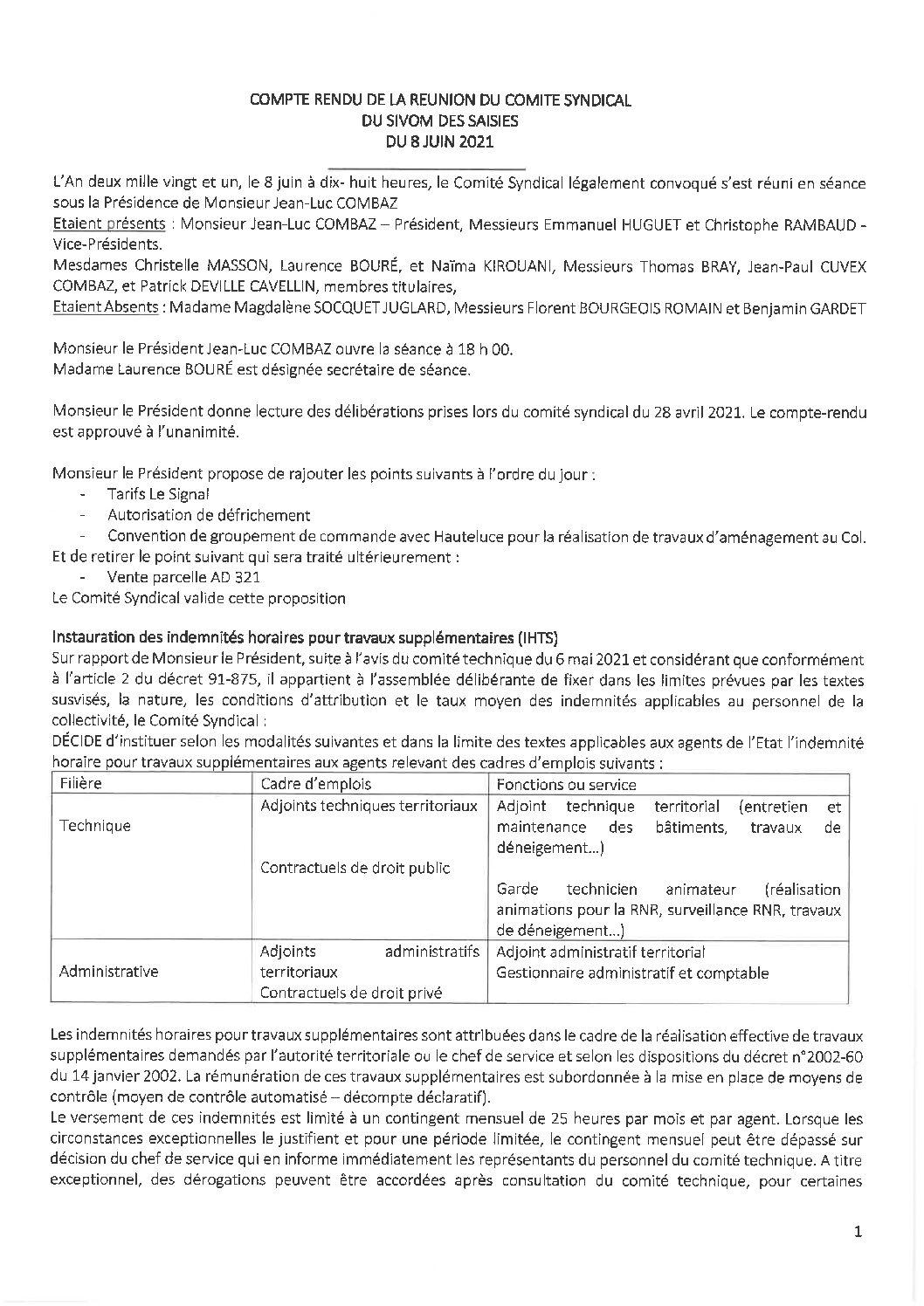 Compte-rendu du Comité Syndical du 8 juin 2021