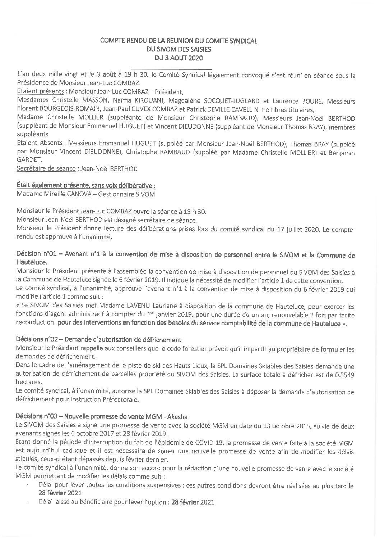 Compte-rendu du Comité Syndical du 3 août 2020