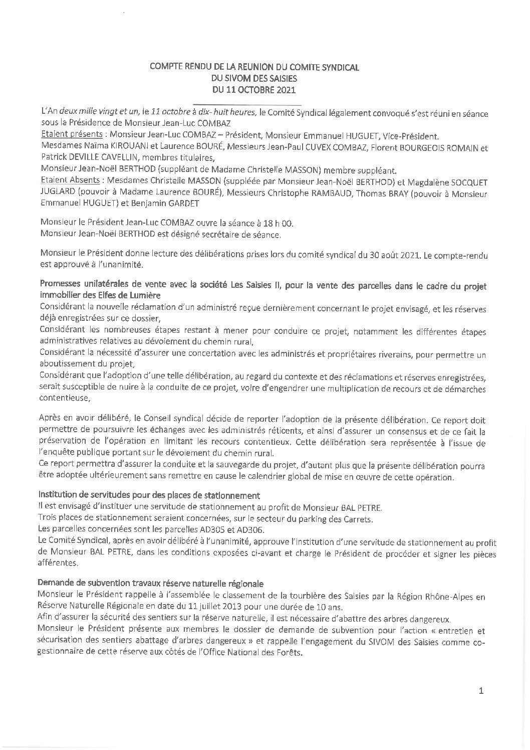 Compte-rendu du Comité Syndical du 11 octobre 2021